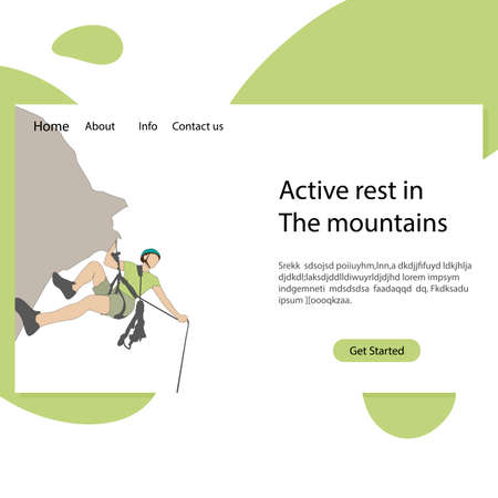 Active rest in mountains landing page. Illustration mountaineering school, rock climbing, extreme sport hobby vector
