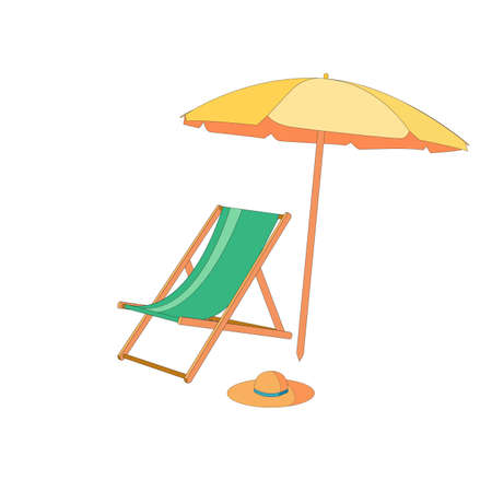 Chaise lounge with umbrella isolated, summer concept. Chaise lounge umbrella isolated for concept design. Luxury travel concept. Stylish template with colorful chaise lounge umbrella