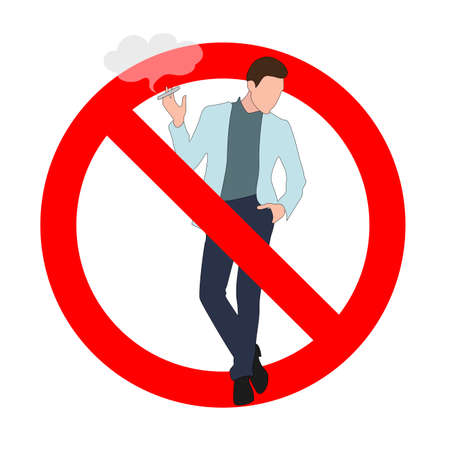 Ban smoking in public place, forbidden e-cigarette and vape, person crossed, unhealthy habit, prohibit and interdiction smoking 矢量图像