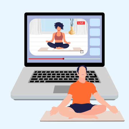 Yoga meditation online, live stream sport, live training, fitness pose. Illustration lesson yoga, asana body, sport live training, fitness pose position vector 矢量图像