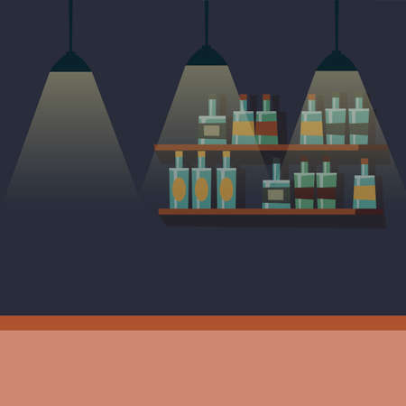 Empty bar counter, pub place with furniture and bottle alcohol. Vector restaurant nightlife illustration, nightclub counter 矢量图像