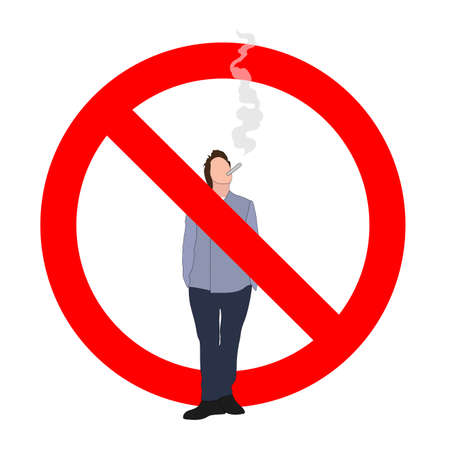 Unhealthy habit prohibit, interdiction smoking male, vector illustration ban smoke area, not smoking, smoker prohibition, cross man with cigarette, smoker banned