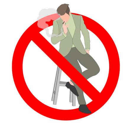 No smoking area, ban smoker, prohibition nicotine, healthy icon, not cigar smoke. Vector male smoke cross ban, smoking adult, smoker with cigarette, anti tobacco information illustration