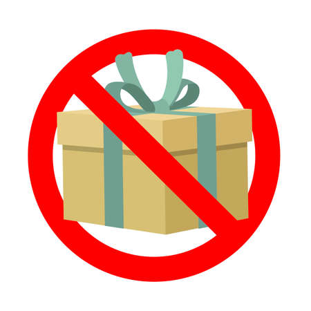 Banned gift, symbol present prohibit icon. Vector prohibit surprise, no gift package, prohibition giving gift box, forbid celebrating illustration