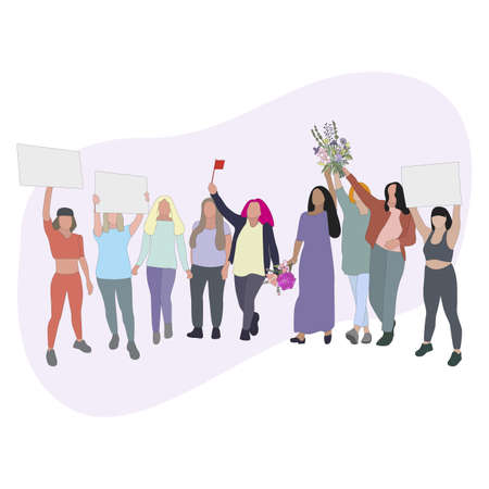 Women protest and demonstration, people with card and flowers, cartoon female solidarity, strike and struggle for woman rights. Vector protester and activism democracy illustration