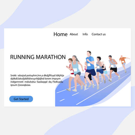 Running marathon landing page. Marathon competition, run exercise, sport event, fitness runner, race people female and male. Vector illustration 矢量图像