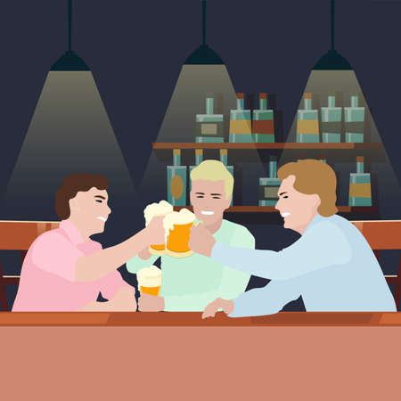 Man drink beer in pub, mugs with lager cheers. Drinking glass beer, interior bar and pub after hard work week, friday party. Vector illustration