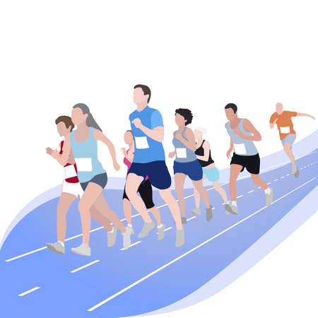 Marathon runner event, competition sport run. Competition exercise, sport event 5k race, speed walk and run outdoor, sport woman and man. Vector illustration