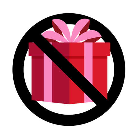 No present gift, banned celebrating, non bribe. Vector no gift prohibitory surprise, package prohibition illustration