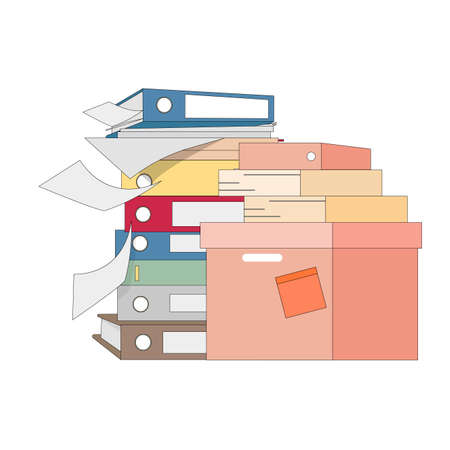 Stack file and folder, lot of work. Vector organize and storage files, overwork documents, folder at workplace, accounting directory illustration