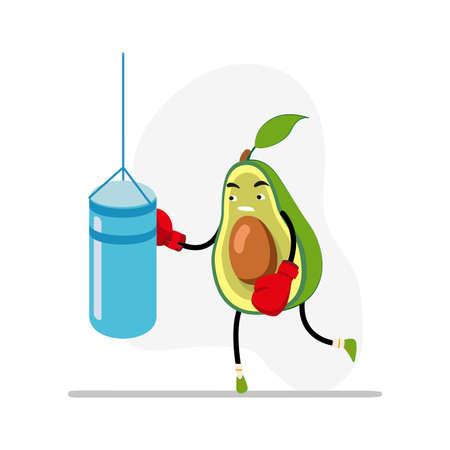 Avocado boxing, sport life concept. Healthy lifestyle avocado boxing challenge, sport equipment recreation. Vector illustration