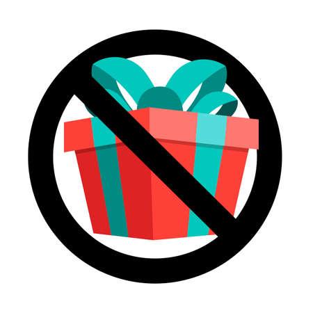 No present icon flat sign, banner to birthday event. Vector forbid celebrating, warning xmas gift box, ban parcel, information forbidden, illustration