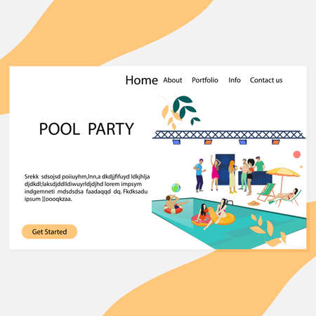 Pool party landing page, luxury and vip summer disco. Vector party disco, people dance and drink illustration. Elite club with pool and cool dj, vacation event 矢量图像