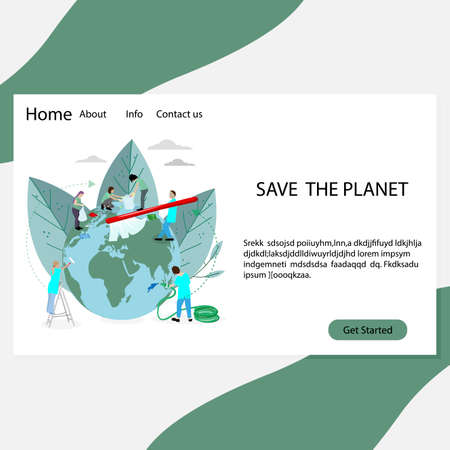 Save planet landing page, people volunteers clean and wash. Vector volunteering world, global care, washing and recycle environmental, protection nature illustration