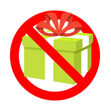 Prohibition present gift to holiday birthday event. Prohibitory surprise, package prohibition, no pack giving, ban 3d gift box, forbid celebrating. Vector illustration