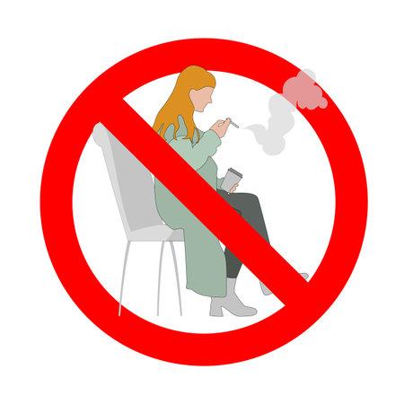 Prohibited smoke for woman, banned public smoking, women forbidden cigarette, danger habit, prohibition zone smoke. Vector illustration 矢量图像
