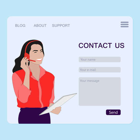 Contact us page, feed back and interface to send message. Vector hotline and feedback, phone chat, website online page, web operator support illustration