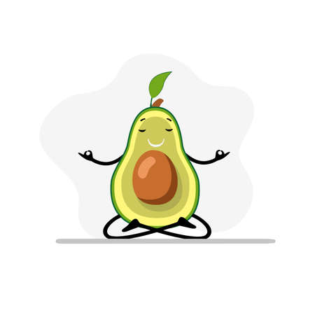 Avocado doing yoga, calm meditation and right breathe. Vecor concept concentration and relaxation, meditating sitting, diet harmony, yoga avocado, asana peaceful illustration