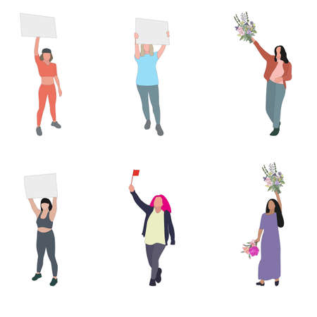Women protester set isolated, woman and girl with placard. Vector women political rights, collection of protest people, design politics activism illustration