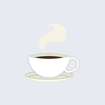 Cup of black coffee isolated, emblem for cafe. Coffee of cup, espresso caffeine, strong logotype illustration 矢量图像