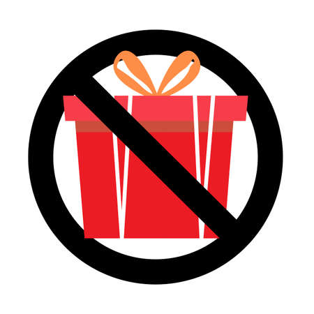 Prohibit sign and no gift and surprise, prohibitory present package, prohibition giving gift box with ribbon, ban celebrating party. Vector illustration
