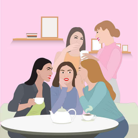 Young women friends gossip, concept female friendship and meeting. Vector friends in cafe and coffee lunch, drink and chat meeting, girls hang out illustration