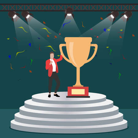 Successful man with golden cup on stage. Cup of winner, victory stage, celebration achievement, championship in business getting prize and trophy, champion award, vector illustration