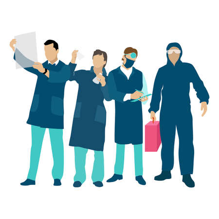 Medical front line, doctors and nurse, scientist. Vector emergency care and support illustration. Staff team clinic