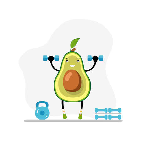 Fitness avocado in gym with dumbbells. Vector weightlifting exercise, organic and natural workout, vegan healthy and active illustration. Nutrition fat and health, funny cartoon nature strong 矢量图像