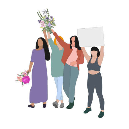 Women group with flowers and placards, struggle for peace and woman rights. Female crowd with banner, gender team cartoon, lady movement sisterhood illustration 矢量图像