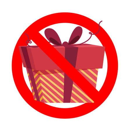 Prohibit icon, no gift and surprise, prohibitory symbol, no package, prohibition giving gift box, emblem for invitation ban celebrating party. Vector illustration