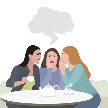 Woman friendship, girls gossip with cup of coffee. Friends hang out together, lady surprise expression from gossiping, vector illustration