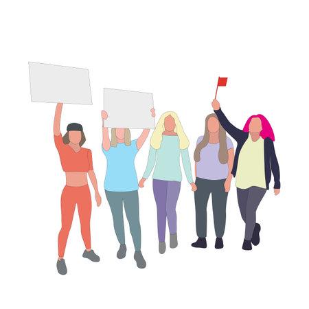 Women voting rights, politics activism, public feminist parade. Intersectional feminism manifestation, democracy action women against misogyny, public picket and fight. Vector illustration 矢量图像