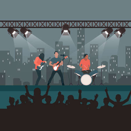 Rock concert festival, popular band on stage, cartoon fans and spectators listen to music, entertainment show and world tour. Vector rock and roll, punk or metal, singer and spectators illustration 矢量图像