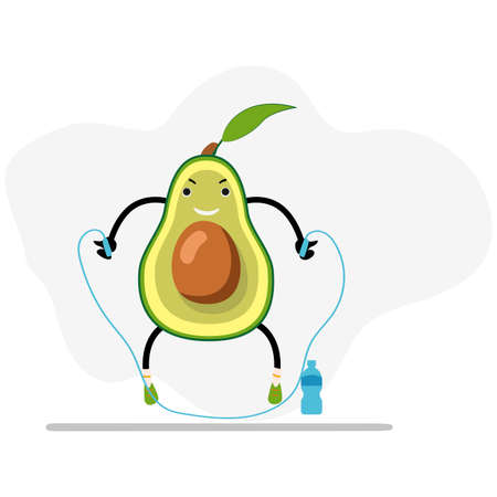 Avocado jump with skipping rope, healthy and useful. Avocado cartoon, sport workout, healthy organic, active exercise and concept vegetarian mascot, vector illustration 矢量图像