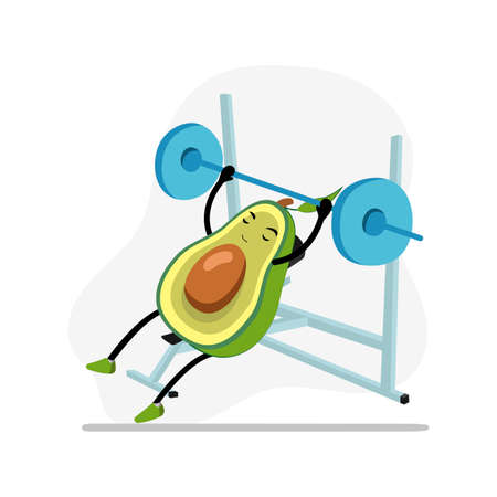 Avocado in gym bench press, character cute active, funny food, nature nutrition, doing sport and fitness. Vector illustration