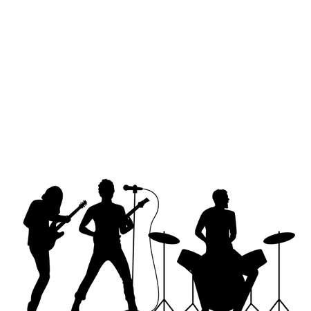Rock band drummer, singer and guitarist black silhouette, rock wallpaper. Rock concert, musical performing band, illustration of scene silhouette vector 矢量图像