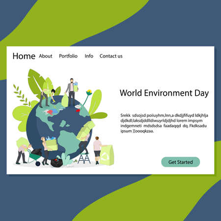 World environment day landing page, environment day 2021 theme. Vector environment day poster. International planet protected eco friendly, nature earth protection illustration