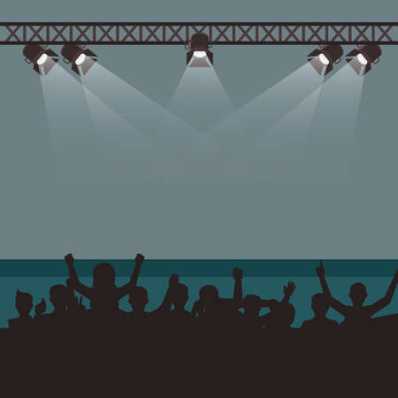 Empty stage with fans and spectates, concert festival or musical event. Show stage club, illuminated empty, shine spotlight, bright scene illumination to concert. Vector illustration 矢量图像