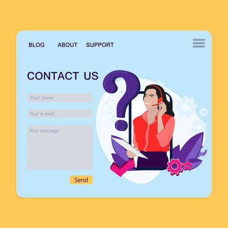 Contact page for feedback, website page, customer claim interface, support form to communication, service call, email and message. Vector illustration 矢量图像