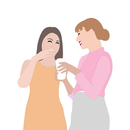 Woman communication, girls coffee break in office. Business break people at work, woman worker hang out and gossiping, Vector illustration 矢量图像