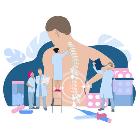 Chiropractor and osteopathy, health back, manual therapy. Vector alternative medical therapy for spine, pain back, illustration injury chronic, manual healing and adjustment. Chiropractor spine flat Vektoros illusztráció