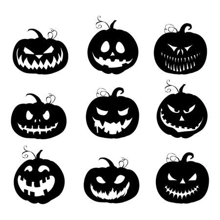 Halloween black pumpkins silhouette collection. Vector autumn horror holiday, celebration jack funny, emotion face carving illustration