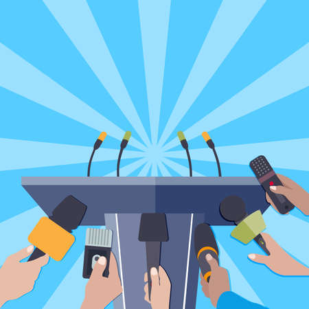 Rostrum with microphones for press release famous person or politician. Vector announcement for multimedia, journalist and press news reportage, recorder report or presentation illustration
