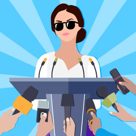 Famous lady makes statement for press conference for mass media. Woman presentation or press release, pedestal with microphone for political speech, vector illustration  イラスト・ベクター素材