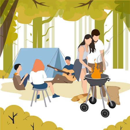 Outdoor recreation, people grill bbq, camping in forest. Vector summer lunch, eating and cooking, cartoon people with guitar and bbq grill illustration