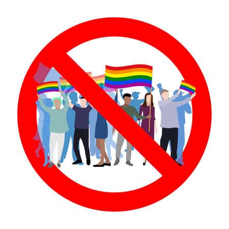 Prohibition lgbt parade, symbol ban, no homosexual rainbow, no lgbt, not lesbian, no gay propaganda, vector illustration, banned protest and demonstration