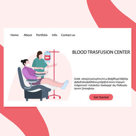 Blood transfusion center landing page, vector laboratory clinic, bloody medicine, drip and giving plazma, healthy donation illustration