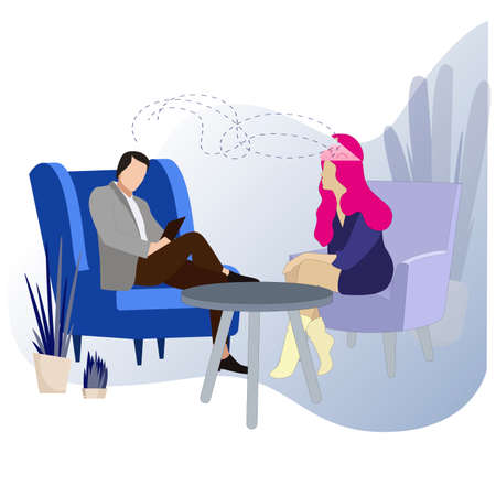 Psychology session, conversation and consultation face to face, psychoanalysis help by psychologist, discussion with patien and try to solve mental problem. Psychoanalysis vector illustration  イラスト・ベクター素材