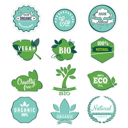 Bio and eco label to organic product, eco friendly stickers for food badge, nutrition for vegan, quality sticker of vegetarian product, sustainable veggie, cruelty free, vector illustration  イラスト・ベクター素材